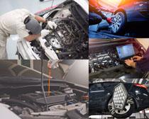 汽车发动机保养检查摄影高清图片