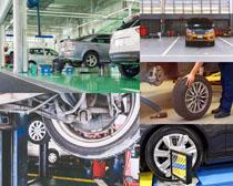 4S店汽车轮胎检查摄影高清图片