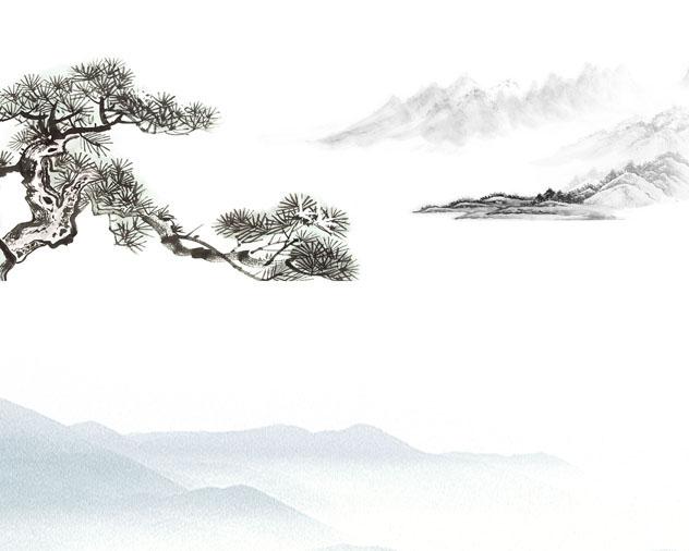 松树风景画PSD素材