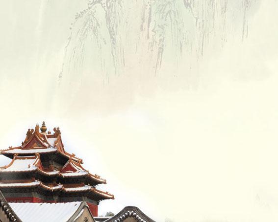 梅花山峰建筑绘画PSD素材