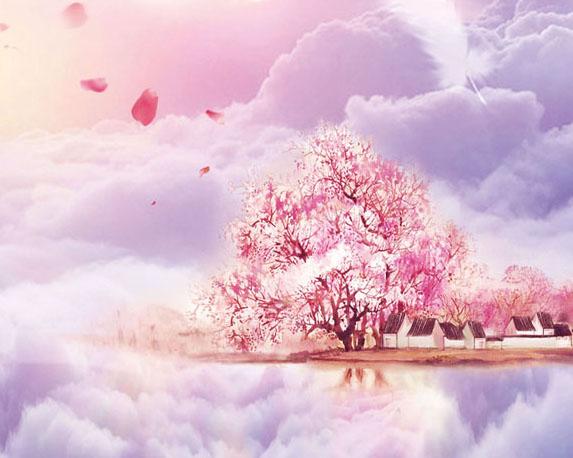 漂亮的樱花画PSD素材