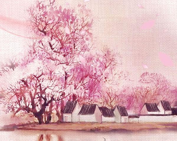 粉红花朵风景画psd素材