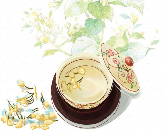 瓦罐汤花朵水彩画PSD素材