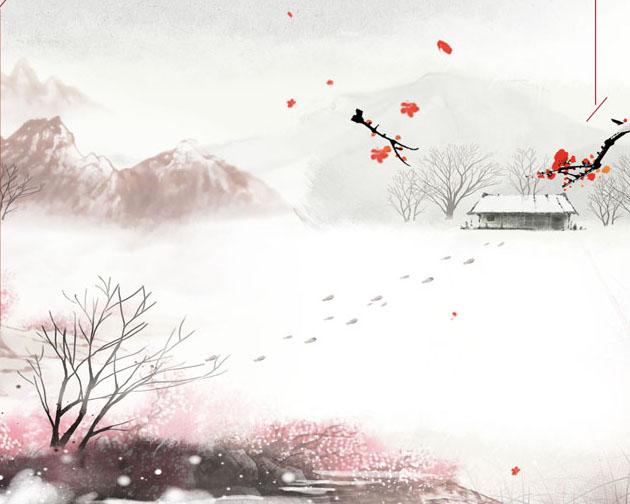 冬季风景绘画PSD分层素材