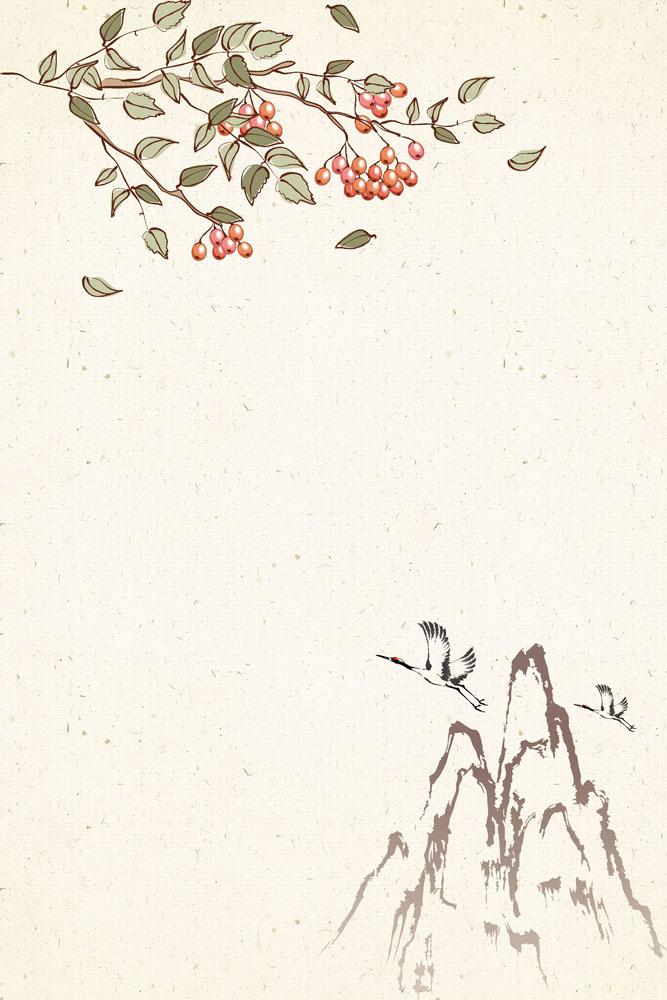 花朵仙鹤工笔画psd素材