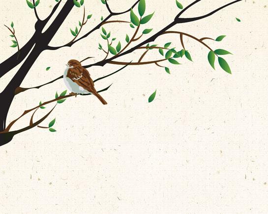 枝头鸟绘画PSD素材