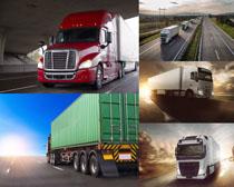 高速公路上的货车摄影高清图片
