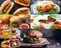 汉堡包与番茄酱摄影高清图片