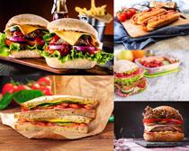 早餐面包汉堡包摄影高清图片