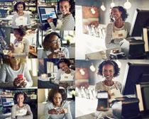 咖啡店收银女人摄影高清图片