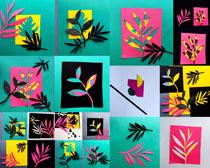 貼紙樹葉裝飾攝影高清圖片