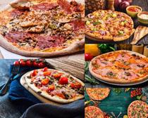 西红柿培根披萨摄影高清图片