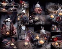 蜡烛灯装饰摄影高清图片