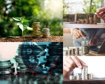 硬币金融商务摄影高清图片