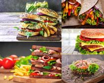 汉堡包面包西红柿摄影高清图片
