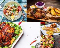 烤鸡与调料摄影高清图片