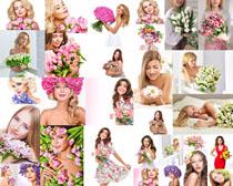 鲜花与欧美美女摄影高清图片