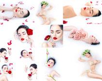 玫瑰花与模特美女摄影高清图片