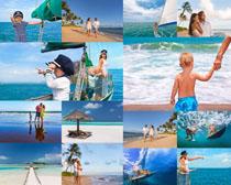 海边快乐家庭人物摄影高清图片