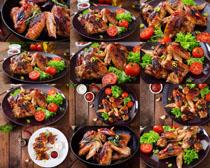 烤鸡与食材摄影高清图片