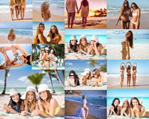 沙滩海边比基尼美女摄影高清图片