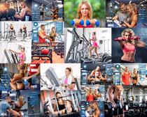 运动健身美女与教练摄影高清图片