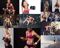 哑铃与健身美女拍摄高清图片