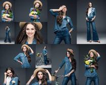 牛仔服装美女写真拍摄高清图片