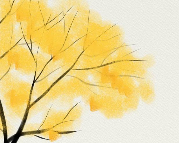 水彩秋天树PSD素材