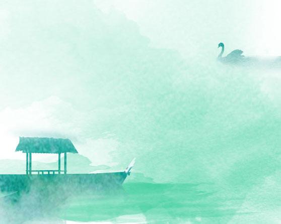 水彩风景绘画PSD素材