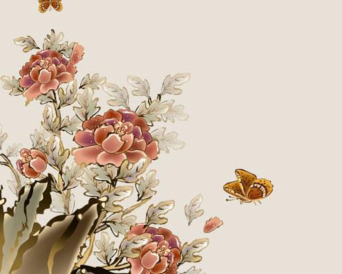 花朵工笔绘画PSD素材