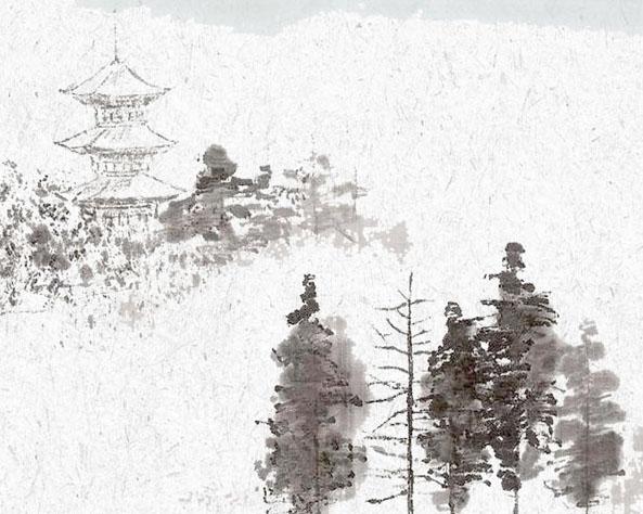 亭子与树绘画PSD素材