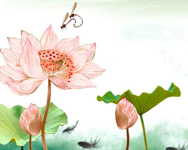 荷花蜻蜓绘画PSD素材