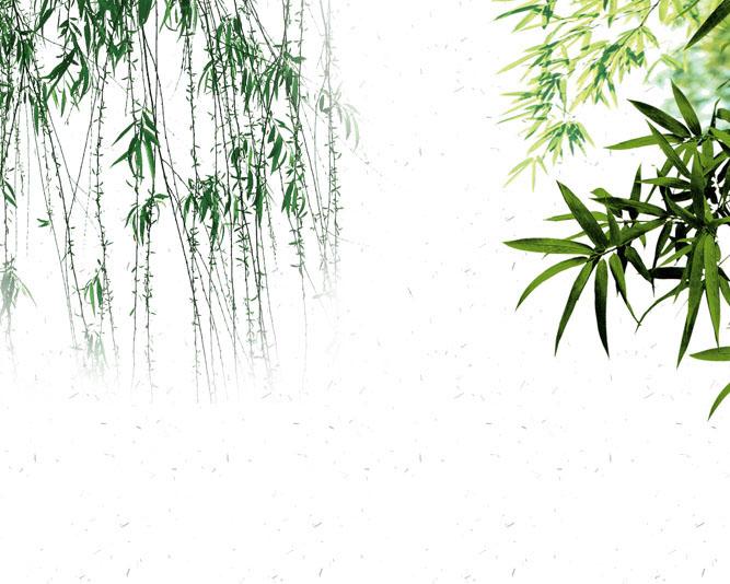 柳树荷花绘画PSD素材