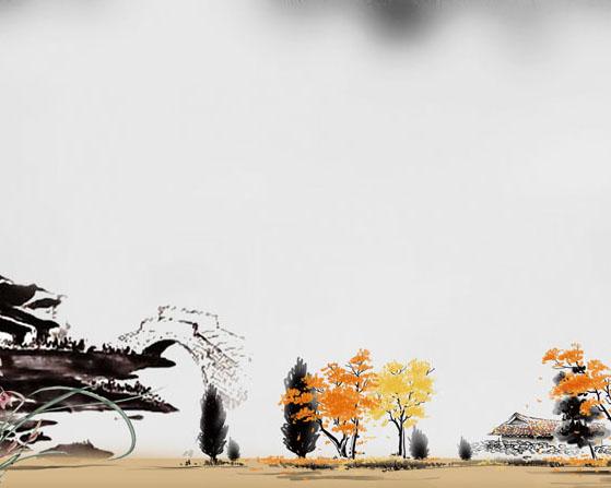 湖泊树木风景画PSD素材