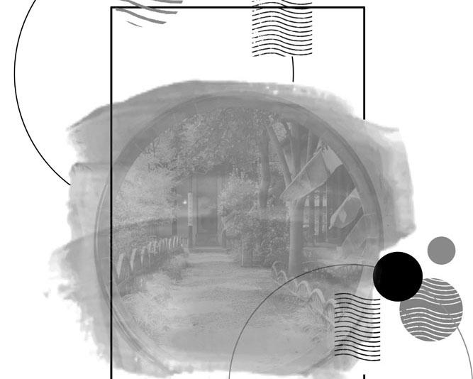 水墨背景木屋绘画PSD素材