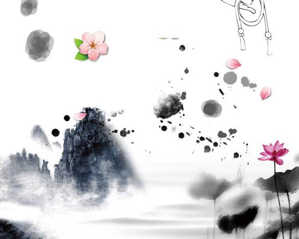 水墨仙境绘画PSD素材