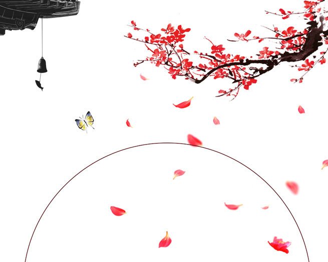 梅花蝴蝶绘画PSD素材
