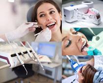 整牙齿的女人摄影高清图片