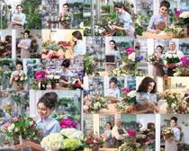 鲜花店美女拍摄高清图片