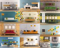 簡潔家庭家居布置攝影高清圖片
