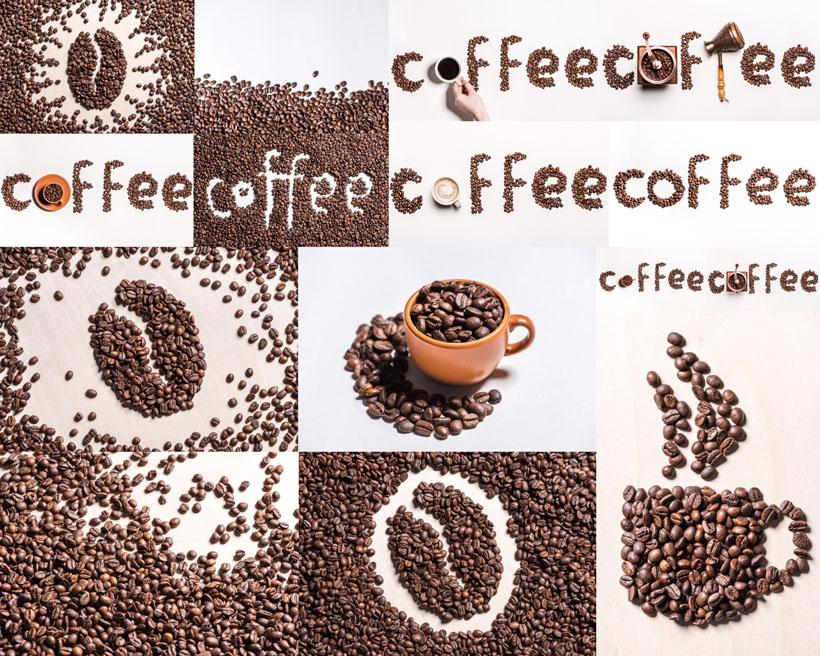 咖啡果组合字母摄影高清图片