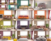 沙發與室內設計攝影高清圖片