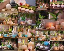蜡烛毛巾SPA工具摄影高清图片