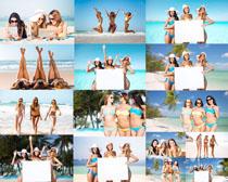 沙滩大海比基尼美女拍摄高清图片