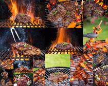 火焰烧烤牛排摄影高清图片