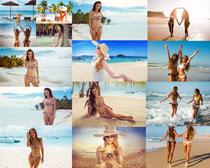 海灘比基尼美女拍攝高清圖片