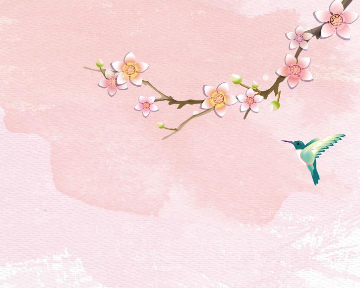 梅花与小鸟绘画PSD素材
