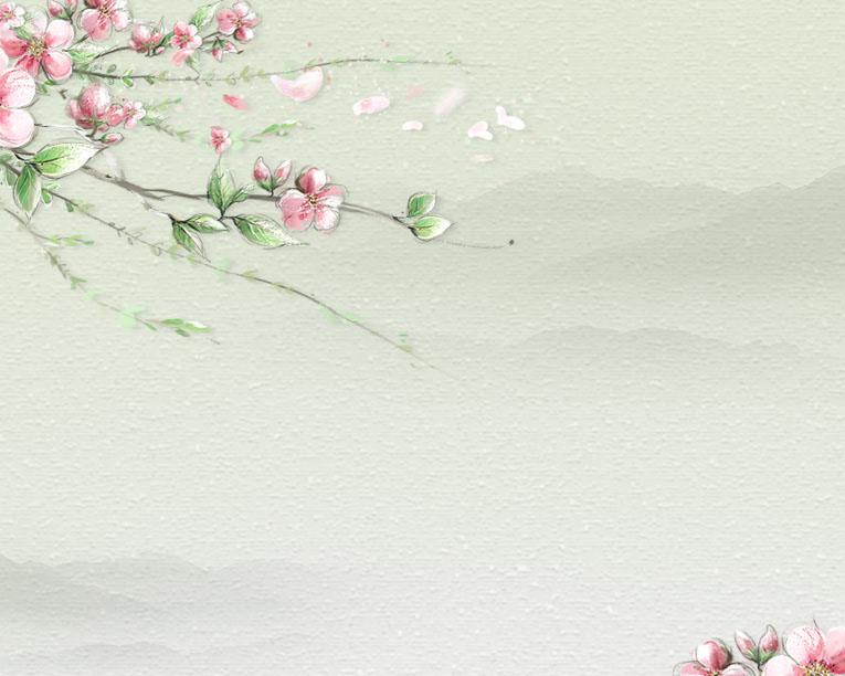 枝头花朵与背景PSD素材