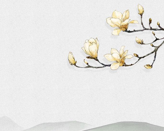 枝头花朵工笔画psd素材